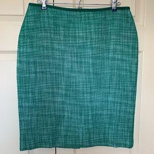 Talbots green tweed pencil skirt